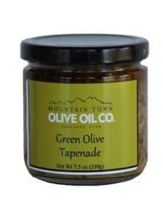 jar of green olive tapenade