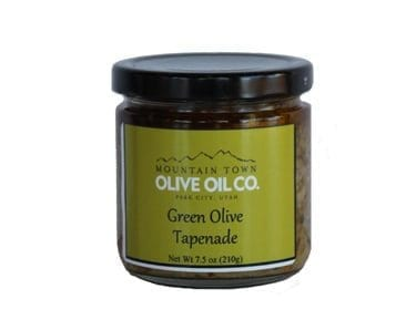 jar of green olive tapenade