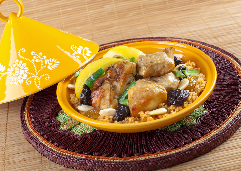 Tajine, moroccan chicken with lemon confit and cous cous.