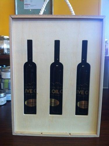 3 bottle box of olive oil